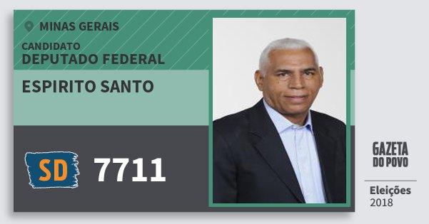 Santinho Espirito Santo 7711 (SOLIDARIEDADE) Deputado Federal | Minas Gerais | Eleições 2018