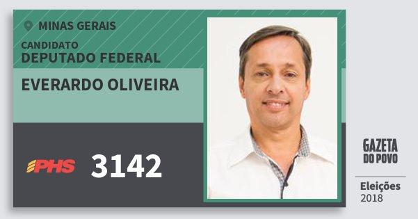 Santinho Everardo Oliveira 3142 (PHS) Deputado Federal | Minas Gerais | Eleições 2018