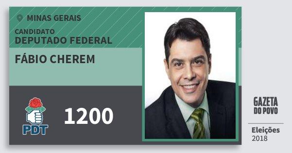 Santinho Fábio Cherem 1200 (PDT) Deputado Federal | Minas Gerais | Eleições 2018