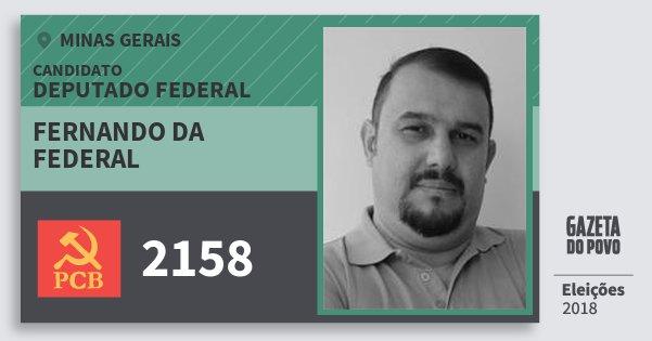 Santinho Fernando da Federal 2158 (PCB) Deputado Federal | Minas Gerais | Eleições 2018
