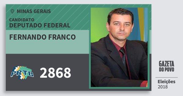 Santinho Fernando Franco 2868 (PRTB) Deputado Federal | Minas Gerais | Eleições 2018