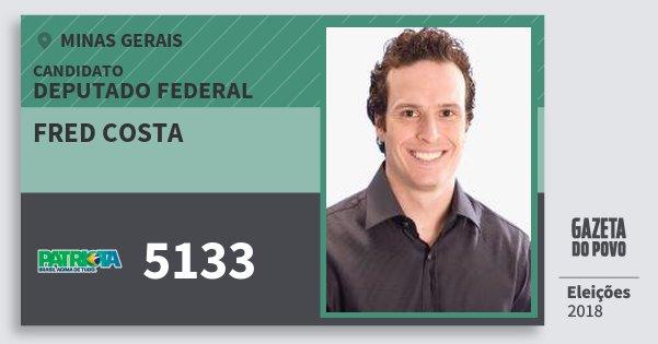 Santinho Fred Costa 5133 (PATRI) Deputado Federal | Minas Gerais | Eleições 2018