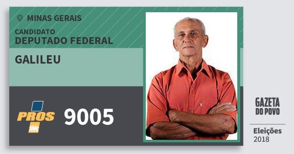 Santinho Galileu 9005 (PROS) Deputado Federal | Minas Gerais | Eleições 2018