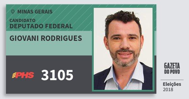 Santinho Giovani Rodrigues 3105 (PHS) Deputado Federal | Minas Gerais | Eleições 2018