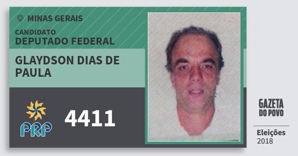 Santinho Glaydson Dias de Paula 4411 (PRP) Deputado Federal | Minas Gerais | Eleições 2018