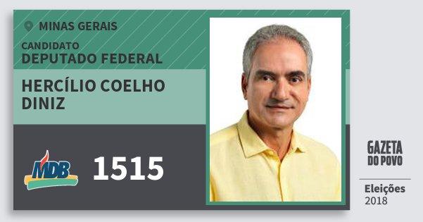 Santinho Hercílio Coelho Diniz 1515 (MDB) Deputado Federal | Minas Gerais | Eleições 2018