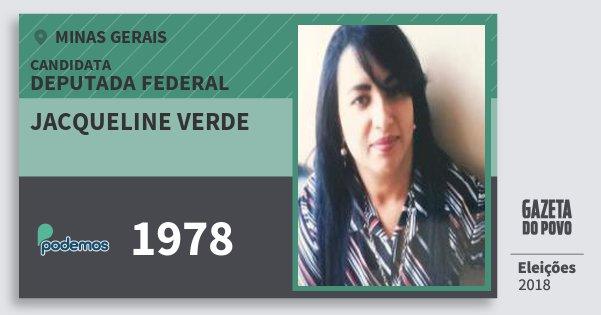 Santinho Jacqueline Verde 1978 (PODE) Deputada Federal | Minas Gerais | Eleições 2018