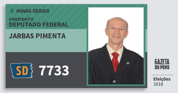 Santinho Jarbas Pimenta 7733 (SOLIDARIEDADE) Deputado Federal | Minas Gerais | Eleições 2018