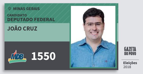 Santinho João Cruz 1550 (MDB) Deputado Federal | Minas Gerais | Eleições 2018