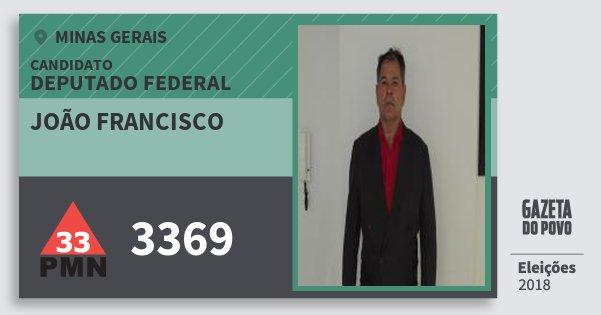 Santinho João Francisco 3369 (PMN) Deputado Federal | Minas Gerais | Eleições 2018