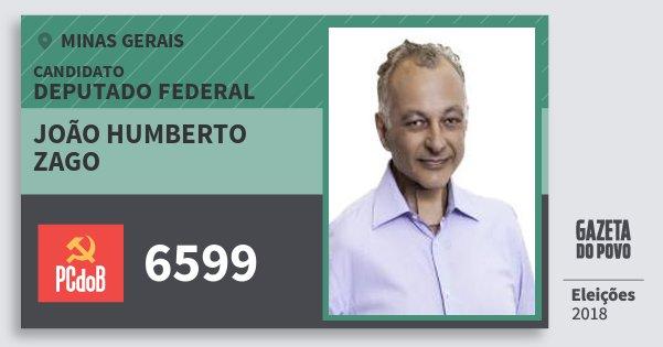 Santinho João Humberto Zago 6599 (PC do B) Deputado Federal | Minas Gerais | Eleições 2018