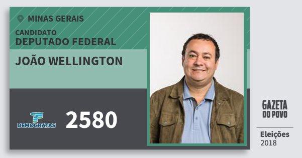 Santinho João Wellington 2580 (DEM) Deputado Federal | Minas Gerais | Eleições 2018