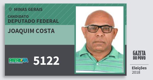 Santinho Joaquim Costa 5122 (PATRI) Deputado Federal | Minas Gerais | Eleições 2018