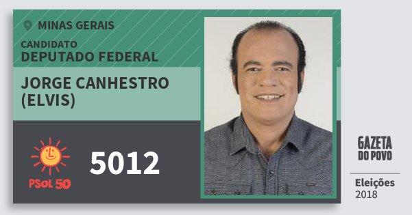 Santinho Jorge Canhestro (Elvis) 5012 (PSOL) Deputado Federal | Minas Gerais | Eleições 2018