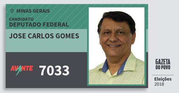 Santinho Jose Carlos Gomes 7033 (AVANTE) Deputado Federal | Minas Gerais | Eleições 2018