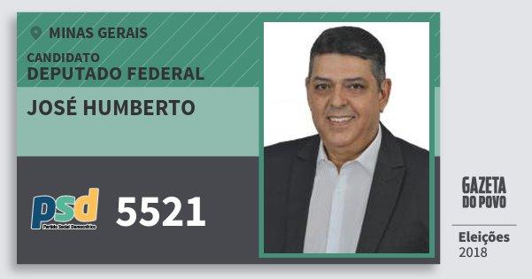 Santinho José Humberto 5521 (PSD) Deputado Federal | Minas Gerais | Eleições 2018