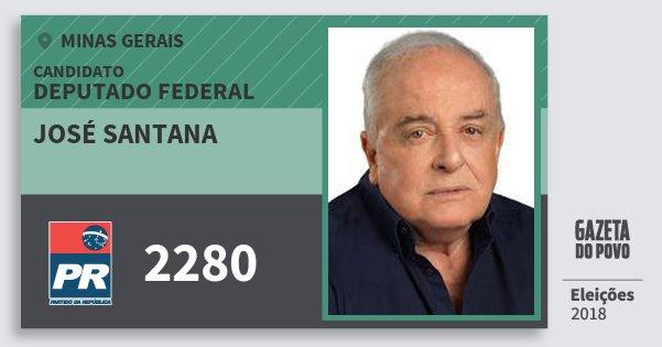Santinho José Santana 2280 (PR) Deputado Federal | Minas Gerais | Eleições 2018