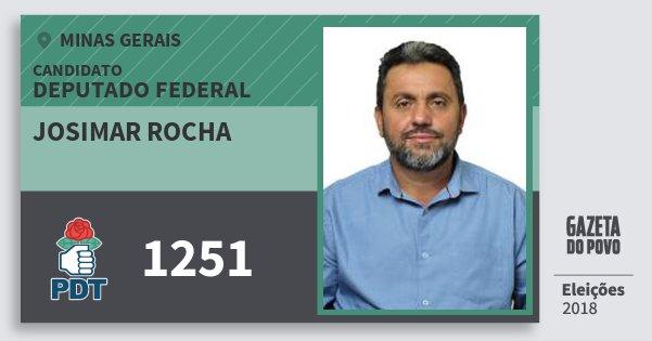 Santinho Josimar Rocha 1251 (PDT) Deputado Federal | Minas Gerais | Eleições 2018