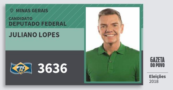 Santinho Juliano Lopes 3636 (PTC) Deputado Federal | Minas Gerais | Eleições 2018