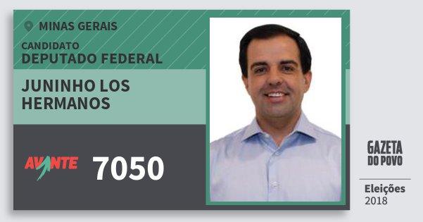 Santinho Juninho Los Hermanos 7050 (AVANTE) Deputado Federal | Minas Gerais | Eleições 2018