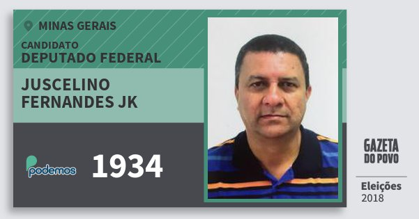Santinho Juscelino Fernandes Jk 1934 (PODE) Deputado Federal | Minas Gerais | Eleições 2018