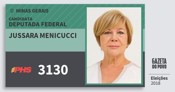 Santinho Jussara Menicucci 3130 (PHS) Deputada Federal | Minas Gerais | Eleições 2018