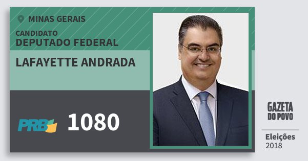 Santinho Lafayette Andrada 1080 (PRB) Deputado Federal | Minas Gerais | Eleições 2018