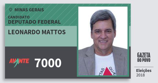 Santinho Leonardo Mattos 7000 (AVANTE) Deputado Federal | Minas Gerais | Eleições 2018