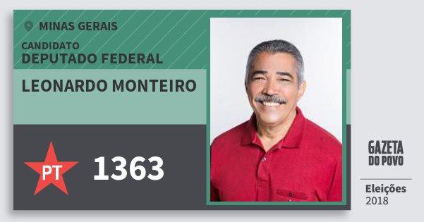 Santinho Leonardo Monteiro 1363 (PT) Deputado Federal | Minas Gerais | Eleições 2018