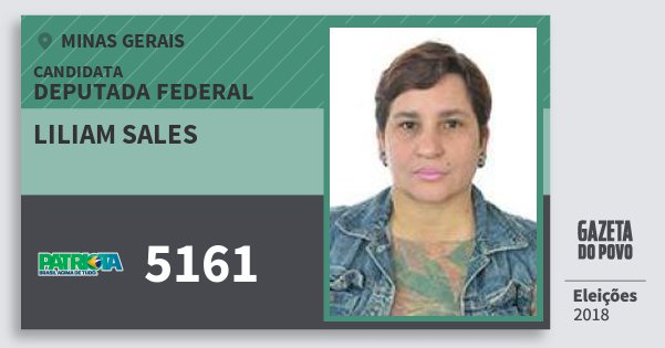 Santinho Liliam Sales 5161 (PATRI) Deputada Federal | Minas Gerais | Eleições 2018