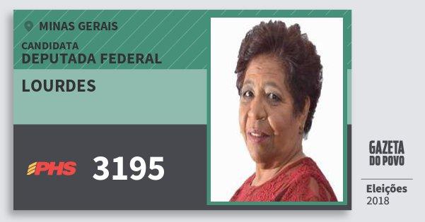 Santinho Lourdes 3195 (PHS) Deputada Federal | Minas Gerais | Eleições 2018