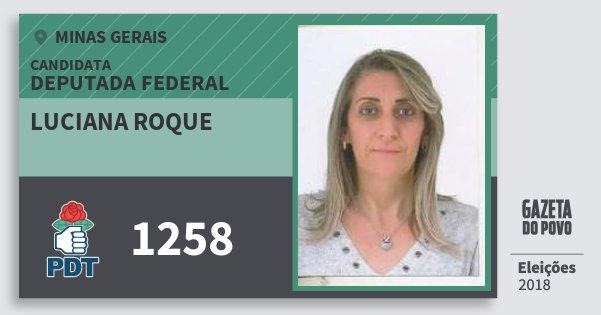 Santinho Luciana Roque 1258 (PDT) Deputada Federal | Minas Gerais | Eleições 2018