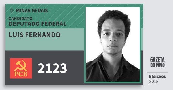 Santinho Luis Fernando 2123 (PCB) Deputado Federal | Minas Gerais | Eleições 2018