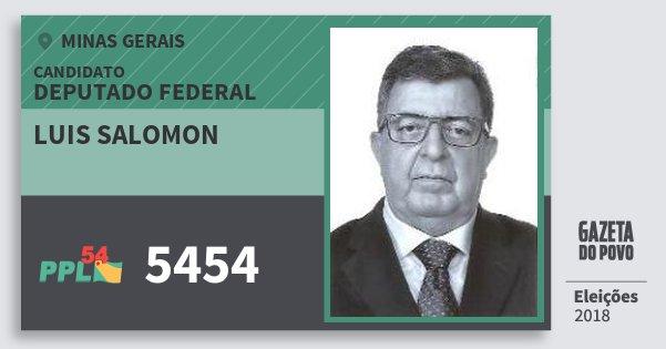 Santinho Luis Salomon 5454 (PPL) Deputado Federal | Minas Gerais | Eleições 2018