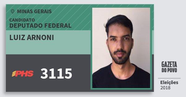 Santinho Luiz Arnoni 3115 (PHS) Deputado Federal | Minas Gerais | Eleições 2018