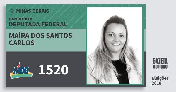 Santinho Maíra dos Santos Carlos 1520 (MDB) Deputada Federal | Minas Gerais | Eleições 2018