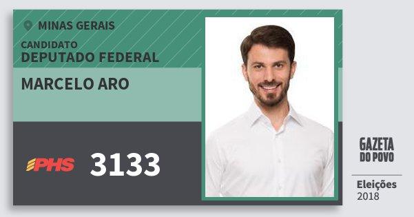 Santinho Marcelo Aro 3133 (PHS) Deputado Federal | Minas Gerais | Eleições 2018