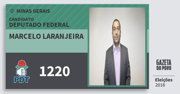 Santinho Marcelo Laranjeira 1220 (PDT) Deputado Federal | Minas Gerais | Eleições 2018