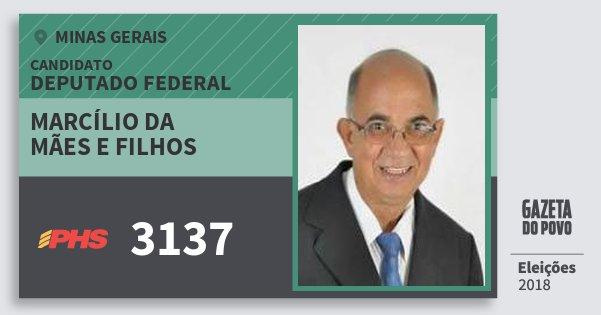 Santinho Marcílio da Mães e Filhos 3137 (PHS) Deputado Federal | Minas Gerais | Eleições 2018