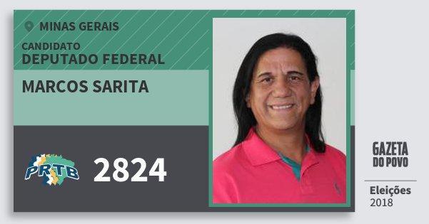 Santinho Marcos Sarita 2824 (PRTB) Deputado Federal | Minas Gerais | Eleições 2018