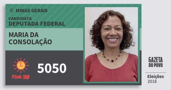 Santinho Maria da Consolação 5050 (PSOL) Deputada Federal | Minas Gerais | Eleições 2018