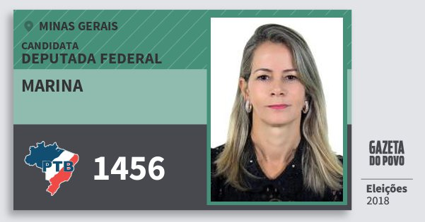Santinho Marina 1456 (PTB) Deputada Federal | Minas Gerais | Eleições 2018