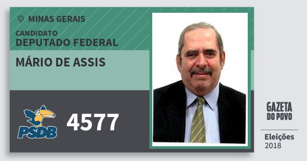Santinho Mário de Assis 4577 (PSDB) Deputado Federal | Minas Gerais | Eleições 2018