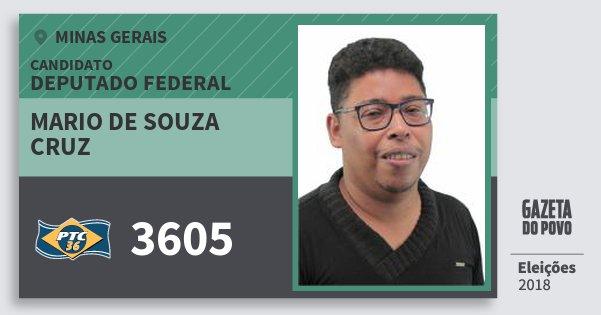 Santinho Mario de Souza Cruz 3605 (PTC) Deputado Federal | Minas Gerais | Eleições 2018