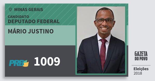 Santinho Mário Justino 1009 (PRB) Deputado Federal | Minas Gerais | Eleições 2018