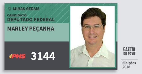 Santinho Marley Peçanha 3144 (PHS) Deputado Federal | Minas Gerais | Eleições 2018