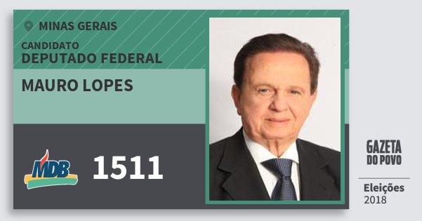 Santinho Mauro Lopes 1511 (MDB) Deputado Federal | Minas Gerais | Eleições 2018