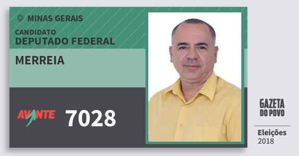 Santinho Merreia 7028 (AVANTE) Deputado Federal | Minas Gerais | Eleições 2018