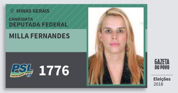 Santinho Milla Fernandes 1776 (PSL) Deputada Federal | Minas Gerais | Eleições 2018
