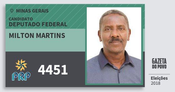 Santinho Milton Martins 4451 (PRP) Deputado Federal | Minas Gerais | Eleições 2018
